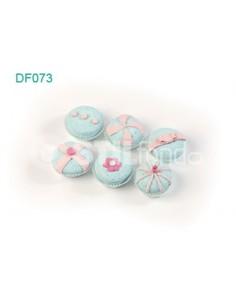 6 cupcakes azules DF073